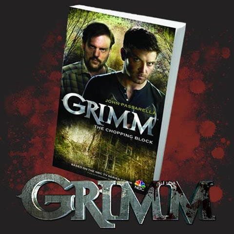 Grimm: The Chopping Block, with Show logo and blood-spattered background