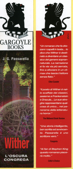 The bookmark (front and back) promoting the Italian edition of WITHER