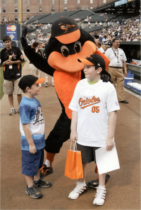 Matthew and Luke with Orioles Mascot, Photo Copyright 2005 by Jerry Wachter Photography