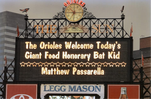 Matthew's Name In Bright Lights at Camden Yards, Baltimore MD, , Photo Copyright 2005 by Jerry Wachter Photography