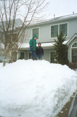 Matthew and Luke pose atop the shoveled snow mound after the great snow storm of February 17, 2003.